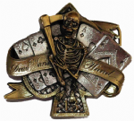 24ct Gold and Silver Plated Dead Man's Hand Belt Buckle with display stand. Product Code: KC7